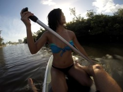 Taking the paddleboard out, but it was too hard to balance with both of us. Rowed down the intracoastal.